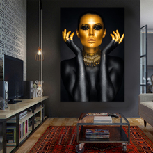 Custom Black and Gold Woman Africa Canvas Paintings Modular Pictures Wall Art Prints for Living Room Decoration No Frame