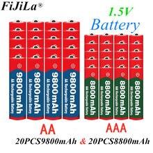 2020 novo 1.5v aa 9800 mah + 1.5v aaa 8800 mah alkaline1.5v bateria recarregável para brinquedos relógio câmera bateria