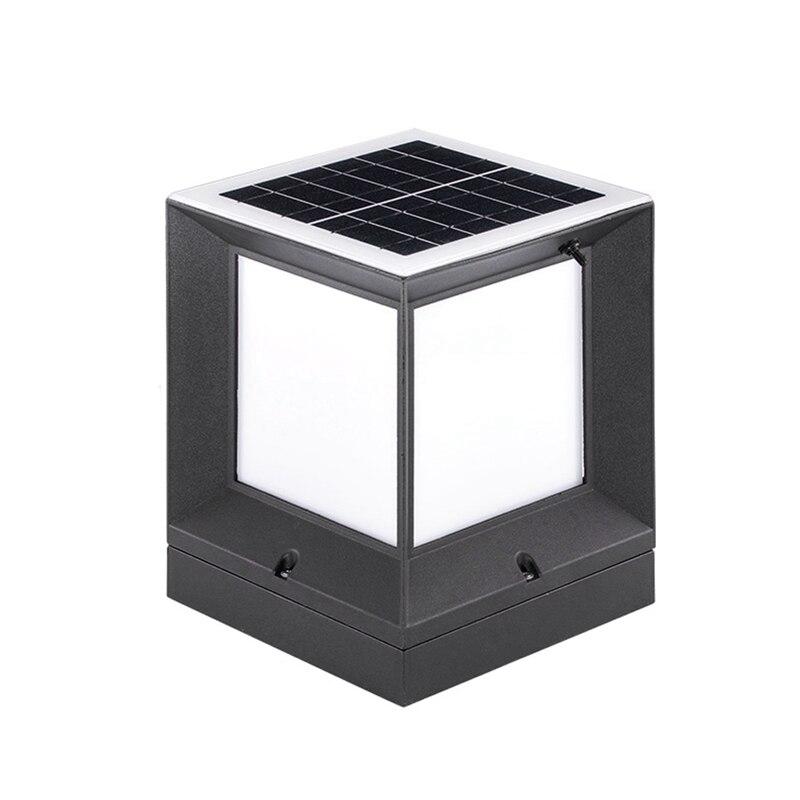 Coluna solar lâmpada de fundição de alumínio sem fio à prova dtwo água de duas cores led coluna cabeça lâmpada jardim ao ar livre coluna lâmpada 21 cm