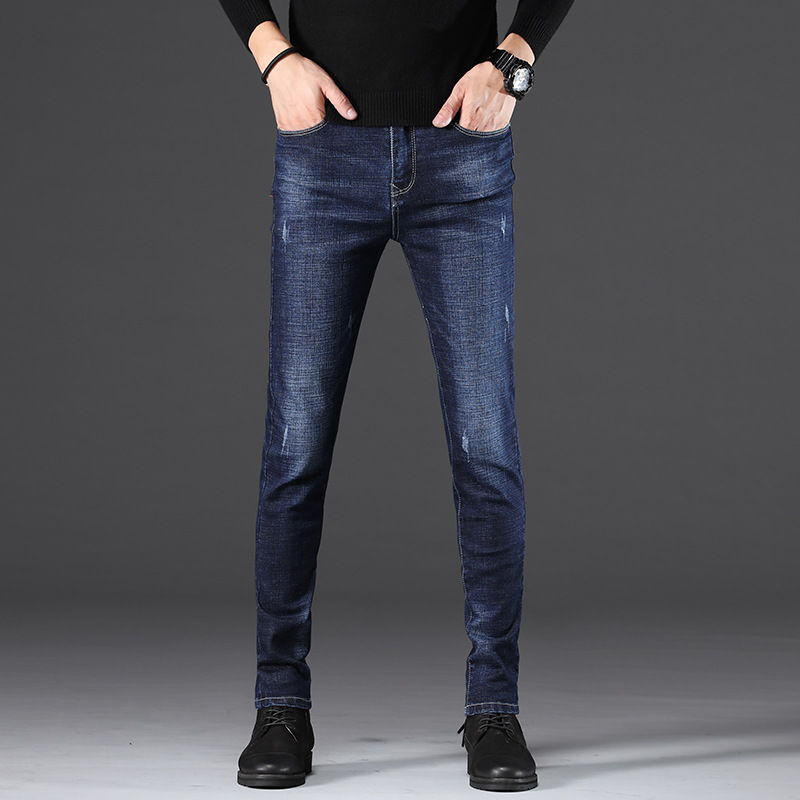 MEN'S Jeans Autumn And Winter Slim Fit Pants MEN'S Trousers Fashion Casual Korean-style Elasticity Slimming Buff Trousers Men's