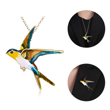 2019 Three-color Glaze Three-Dimensional Swallow Brooch Oil Painting Pin Bird For Women Fashion Jewelry