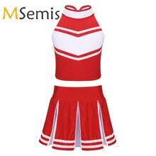 Cheerleader Costume Girls Zipper with Pleated Children's Tops Outfit Dancewear Kids