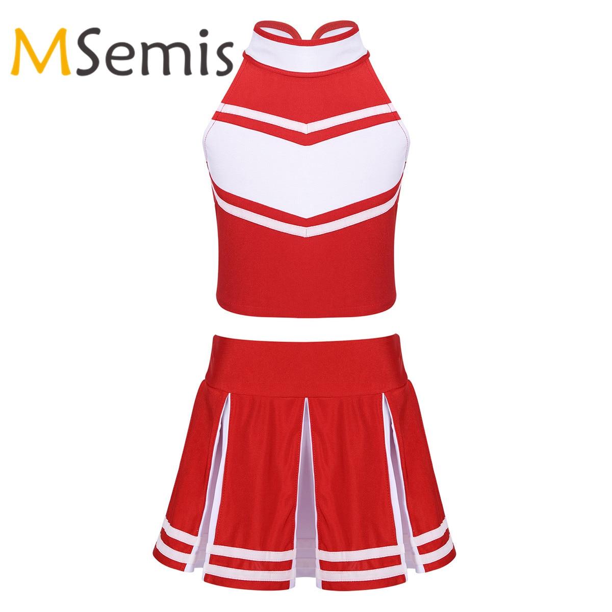 Kids Girls Cheerleader Costume Outfit Sleeveless Zippered Tops With Pleated Cheerleading Skirt Children's Cheerleader Dancewear