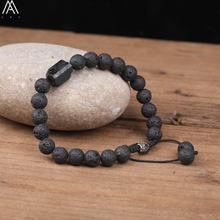 Натуральный черный турмалин 8 мм лавовый камень бусины шнур