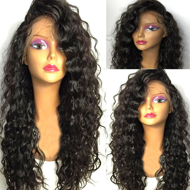 $ US $34.81 Black Long Curly Lace Wigs with Baby Hair for Women 13x4 kinky Curly Hair Synthetic Lace Front Wigs Heat Resistant Fiber