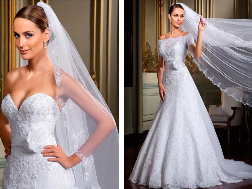 Casamento Sweetheart 2015 New Wedding Gowns With Wraps Belt A-line Off Shoulder Short Sleeves Lace Wedding Dresses With Jacket