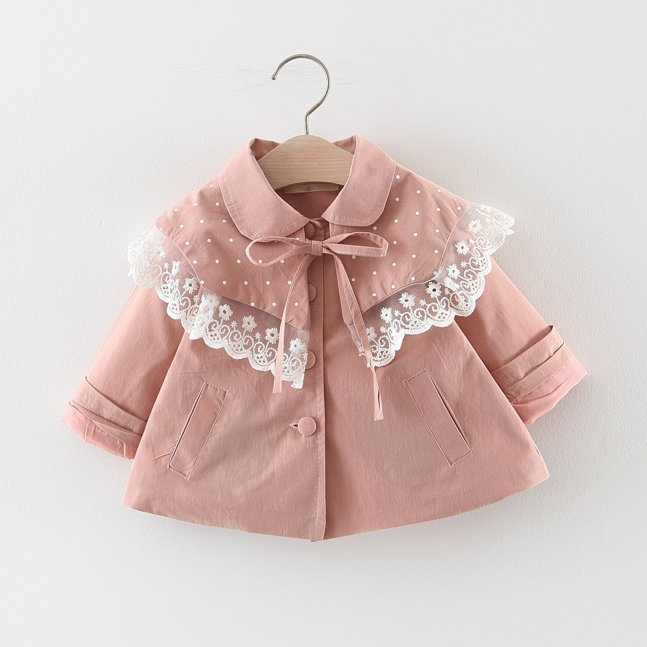 2019 Newborn Baby Girls Windbreaker Korean Fashion Lace Stitching Large Lapel Toddler   Trench   Coat Kids Clothing Fashion Outwear