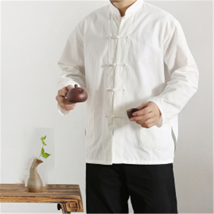 Chinese Style Jacket Mandarin Collar Tai Chi Uniform Hanfu Kung Fu Traditional Chinese Clothing For Men Retro Top Blouse Qipao