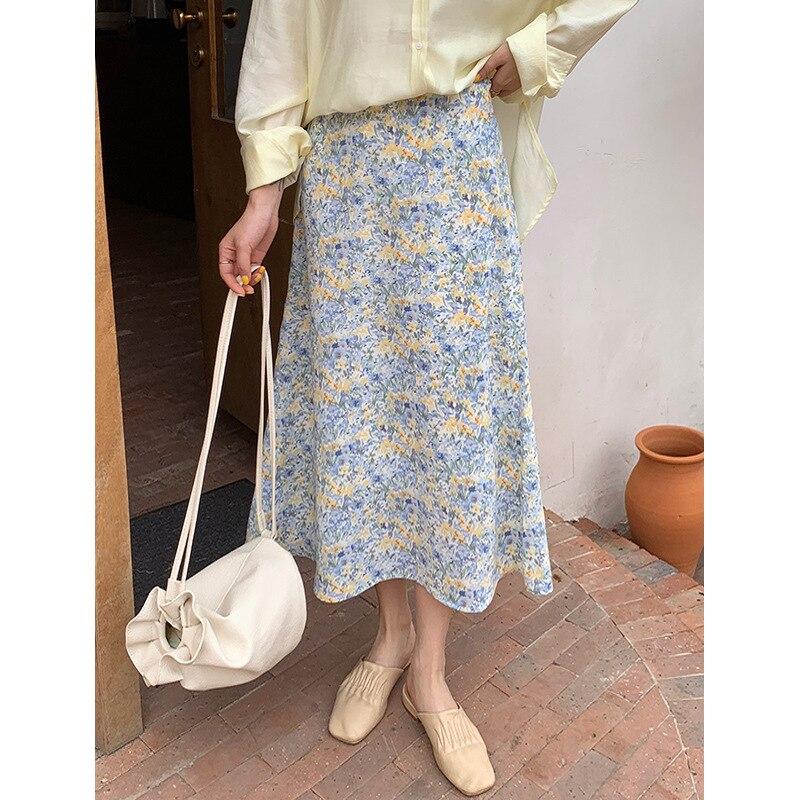 Yg Брендовые женские 2021 летние новые модные с цветочным принтом средней длины с завышенной талией Тонкий шифон юбка