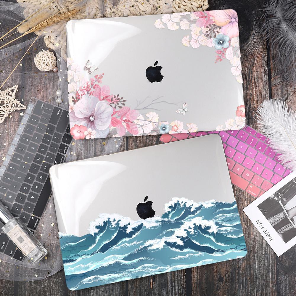 Coque rigide pour ordinateur portable à impression florale pour Macbook Pro Retina 11 12 Air Pro 15 16 2020 A2251 A2289 A2338 A2179 housse en cristal pour barre tactile