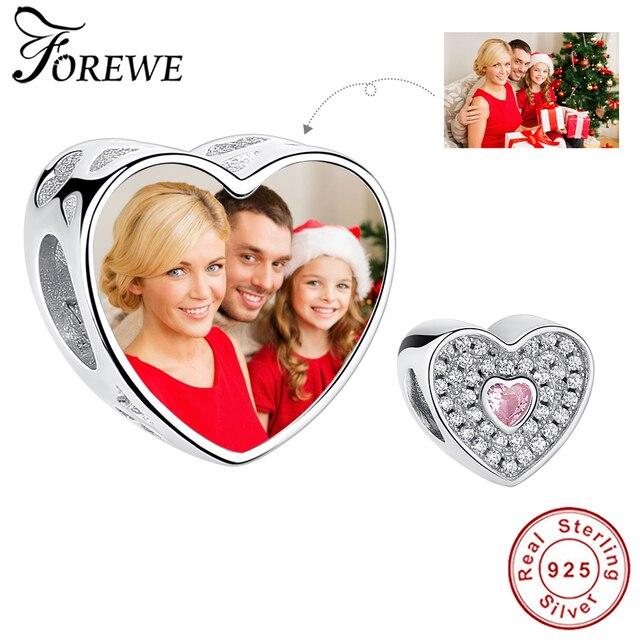 Spersonalizowana biżuteria niestandardowe zdjęcie 925 srebro koraliki zawieszka charms w kształcie serca Fit oryginalna bransoletka Pandora naszyjnik wisiorek