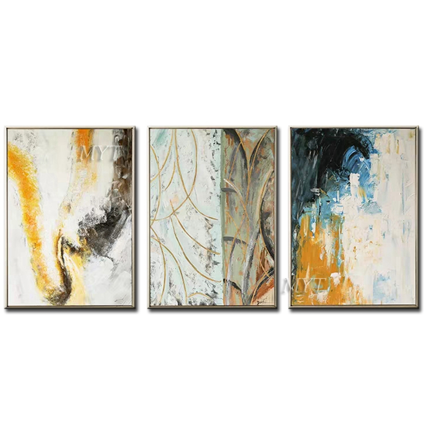 3Pcs 1 Set Fashion Wall Art Hand painted Rich Colors Abstract Oil Painting on Canvas Abstract Oil Painting for Living Room
