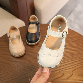 2019 New Style Retro British Style GIRL'S Nude Shoes Genuine Leather Soft Bottom Baby Shoe Korean-style Children Leather Shoes