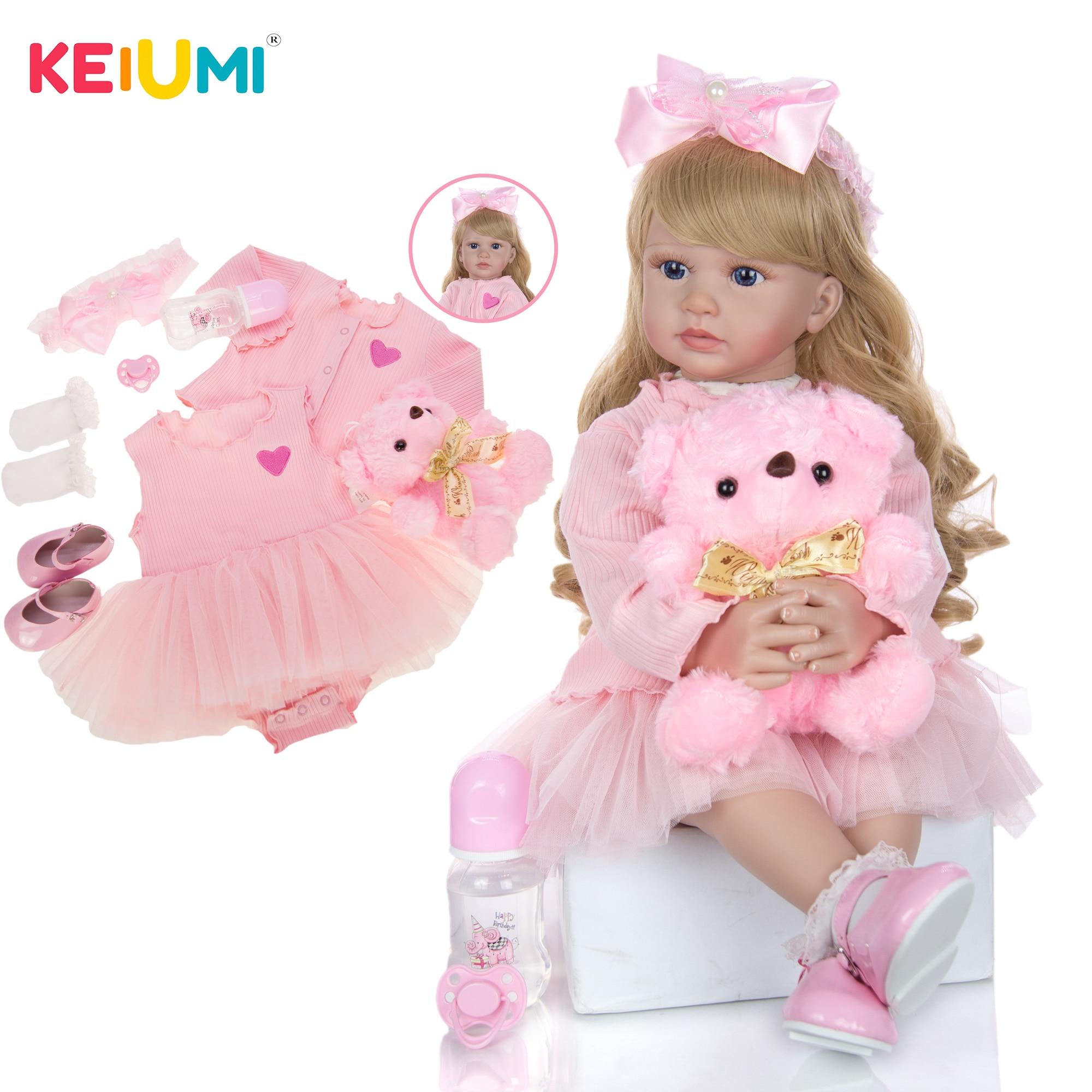 Keiumi novo design venda quente bebê reborn menina boneca 24 Polegada pano de silicone macio corpo realista bonecas reborn bebês bonecas meninas