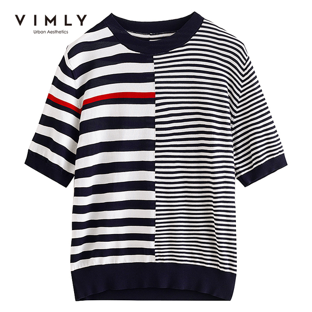 VIMLY Summer Knitted Tops For Women Fashion Round Neck Short Sleeve Pullover Casual Stripe Sweater Women Female Clothes F7397 5