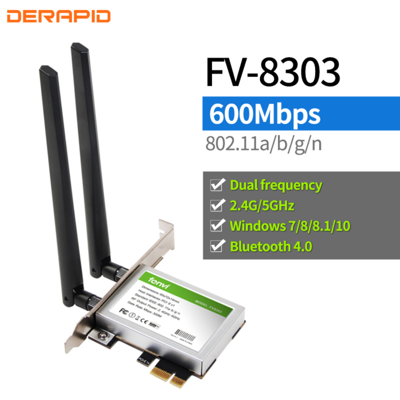 600Mbps Dual band Wireless WiFi PCI-Express Adapter Desktop Card 2.4Ghz/5Ghz PCI-E Network Card WLAN Wi-Fi With 2 Antennas(China)