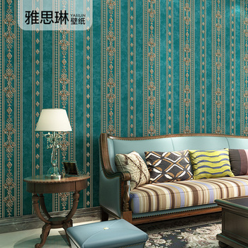 High quality European 3D luxury non-woven wallpaper bedroom living room TV background stripe wall paper home decor high quality american wallpaper 3d rural non woven european style wallpaper luxury retro tv background home living room bedroom