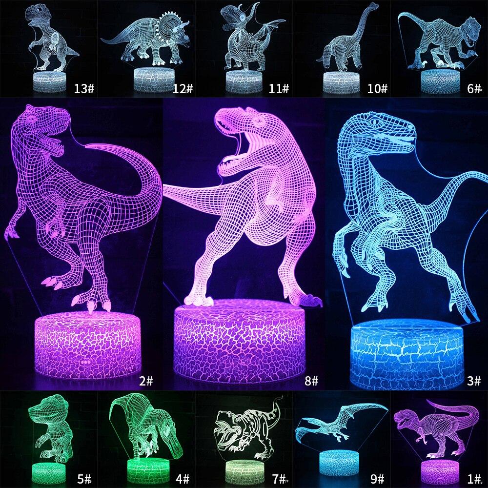 Настольный прикроватный 3D светодиодный Ночник светильник серии динозавров подарок настольное украшение дистанционное и сенсорное управл...