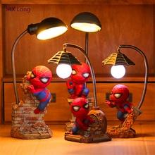 Современный светодиодный ночник Мстители Alliance 4 фигурки человек паук лампа смола детская спальня светодиодный ночник для мальчика подарок на день рождения