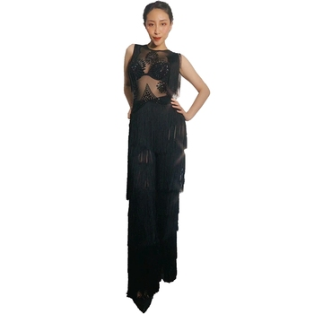 Sexy Mesh See Through Tassel Crystals Jumpsuit Female Singer Dancer Sexy Costume Nightclub Party Outfits Rave Festival Clothing