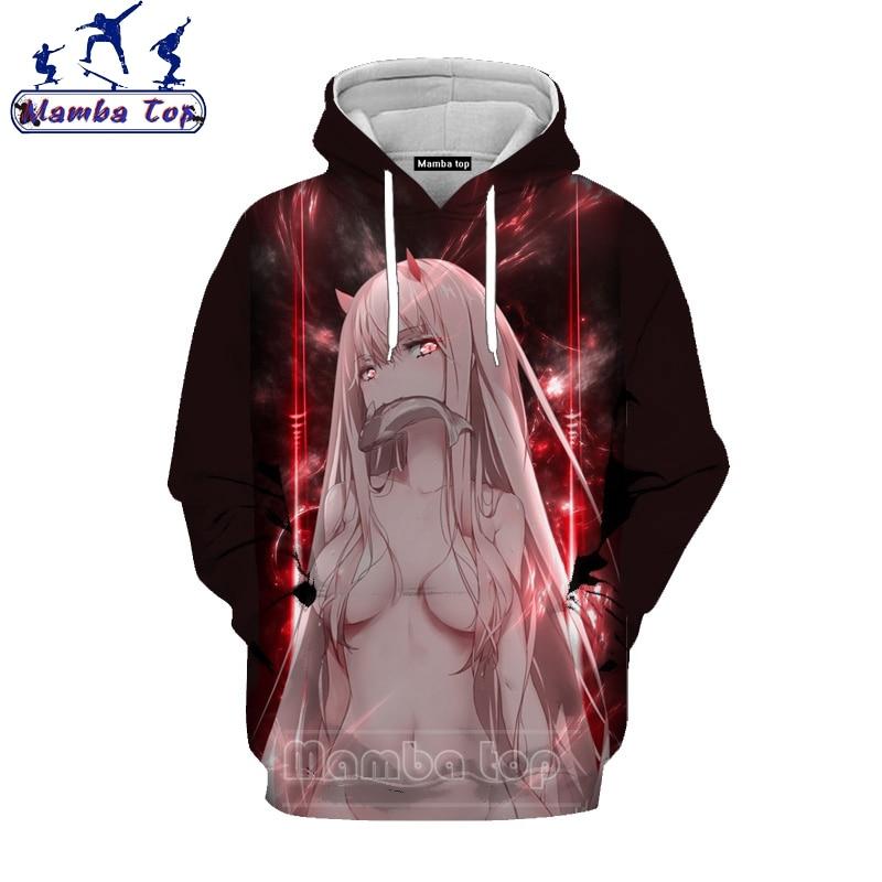 Mamba Top Anime Darling In The Franxx Hoodies 3D Hentai Loli ZERO TWO Men's Hoody Sexy Girl Hooded Senpai Harajuku Men Tees E010