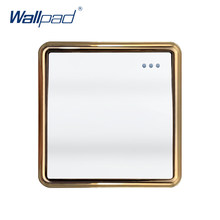 Nueva llegada Wallpad 1 Gang 1 Way interruptor de luz de pared Botón de onda grande interruptores basculantes de Panel de oro(China)