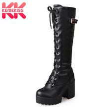 Kemekiss 2020 ぬいぐるみサイズ 34 43 セクシーなハイヒール膝のブーツの女性のプラットフォーム冬の女性の靴追加毛皮の雪のブーツ靴