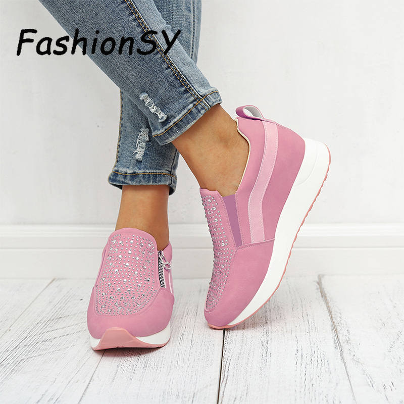 Women Sneakers Spring Autumn Casual Flat Ladies Shoes Zipper Style Crystal Non-slip Breathable Outdoor Vulcanized Shoes