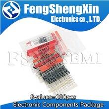 8 valores = Pacote 100pcs Componentes Eletrônicos Kit Sortido Diodo 1N4148 1N4007 1N5819 1N5399 1N5408 1N5822 FR107 FR207 Novo