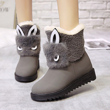 Fashion Women Boots Kawaii Rabbit Shape Slip-On Shoes Woman Winter Boots Women Brown Gray Black Flock Ankle Snow Boots Non-slip gray zipper suede ankle slip on women boots