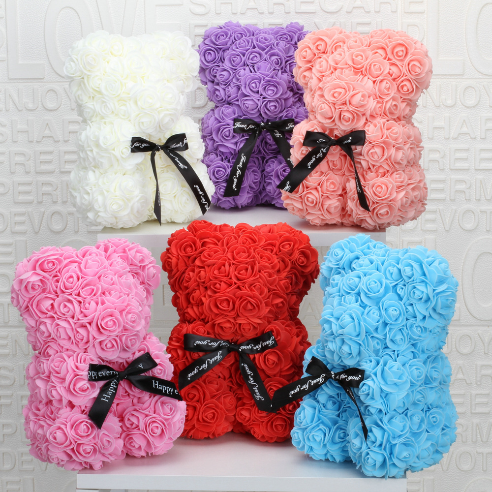 Red Rose Artificial-Decoration Gift Christmas-Gifts Teddy Bear 25cm Valentines Flower title=