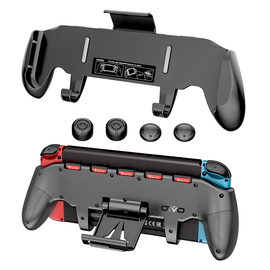 Switch Grip Handle Adjustable Stand Holder Asymmetrical Controller Holder 5 Card Storage for Nintend Switch kit with Key Cap(China)