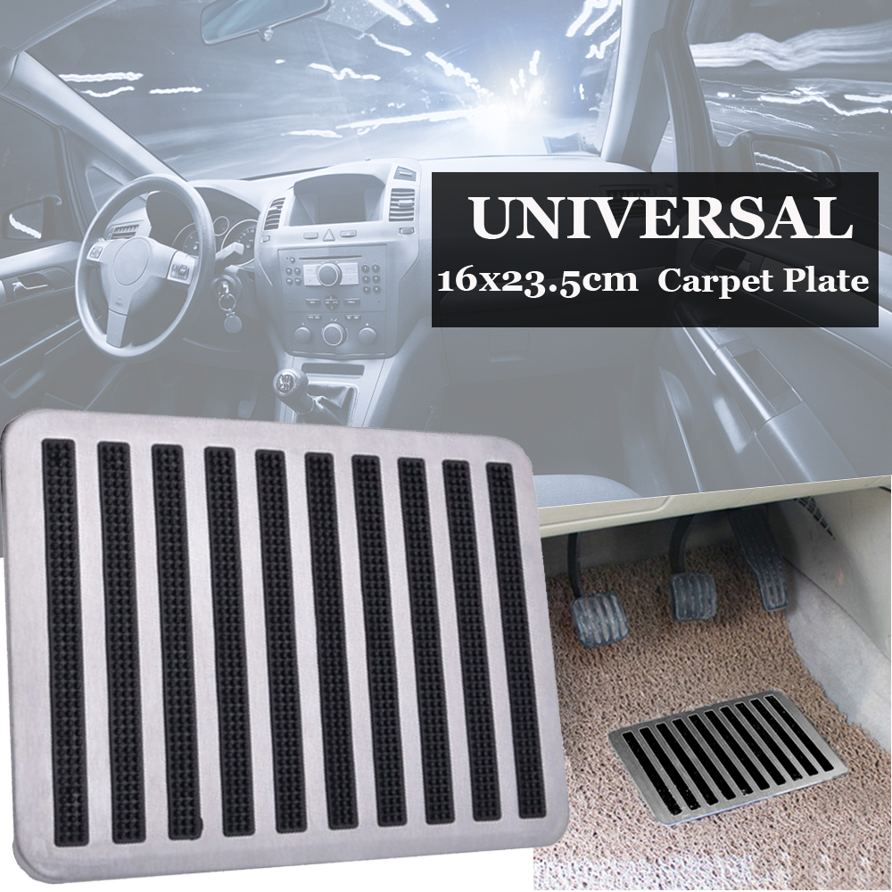 Universal Stainless Car Floor Carpet Mat Patch Foot Heel Plate Pedal Pads Silver