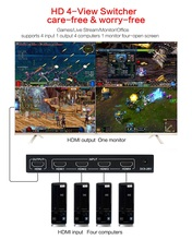 1080P 3D 4x1 HDMI Multi Viewer HDMI Quad Screen Real Time Multi Viewer HDMI Splitter Seamless Switcher with IR Control