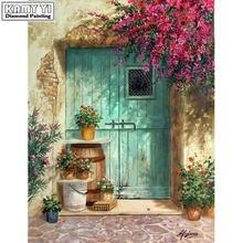 5d алмазная вышивка «сделай сам» крестиком синяя дверь и цветы