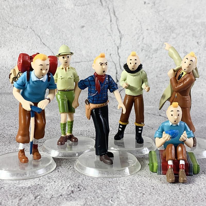 2020 6pcs/LOT 5cm- 8cm The Adventures Of Tintin Figurine Tintin Snowy Blue Lotus Cartoon Action Figure Collectible Model Toys