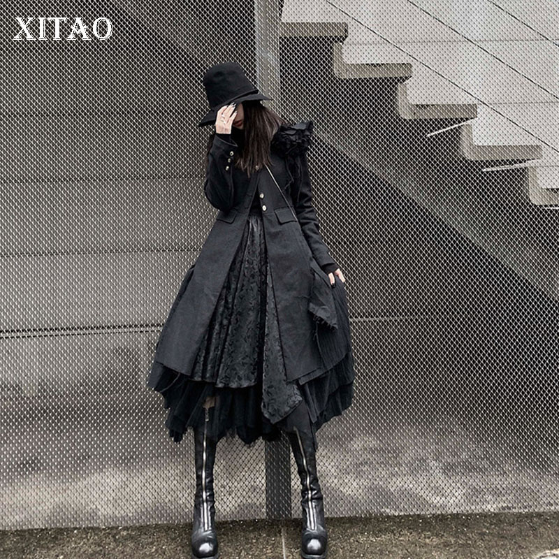 XITAO Black Irregular Trench Women Single Breast Full Sleeve Goddess Fan 2020 Spring Casual Pleated Loose Coat Top GCC3198