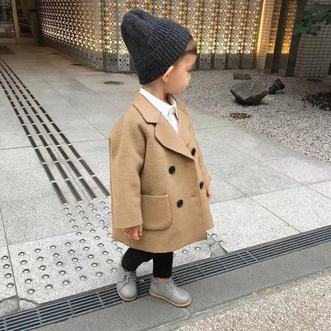 Winter Jackets Boys Solid Woolen Double-breasted Baby Boy Trench Coat Lapel 3 4 5 6 7 Y Kids Outerwear Coats For Boy Windbreaker Multan