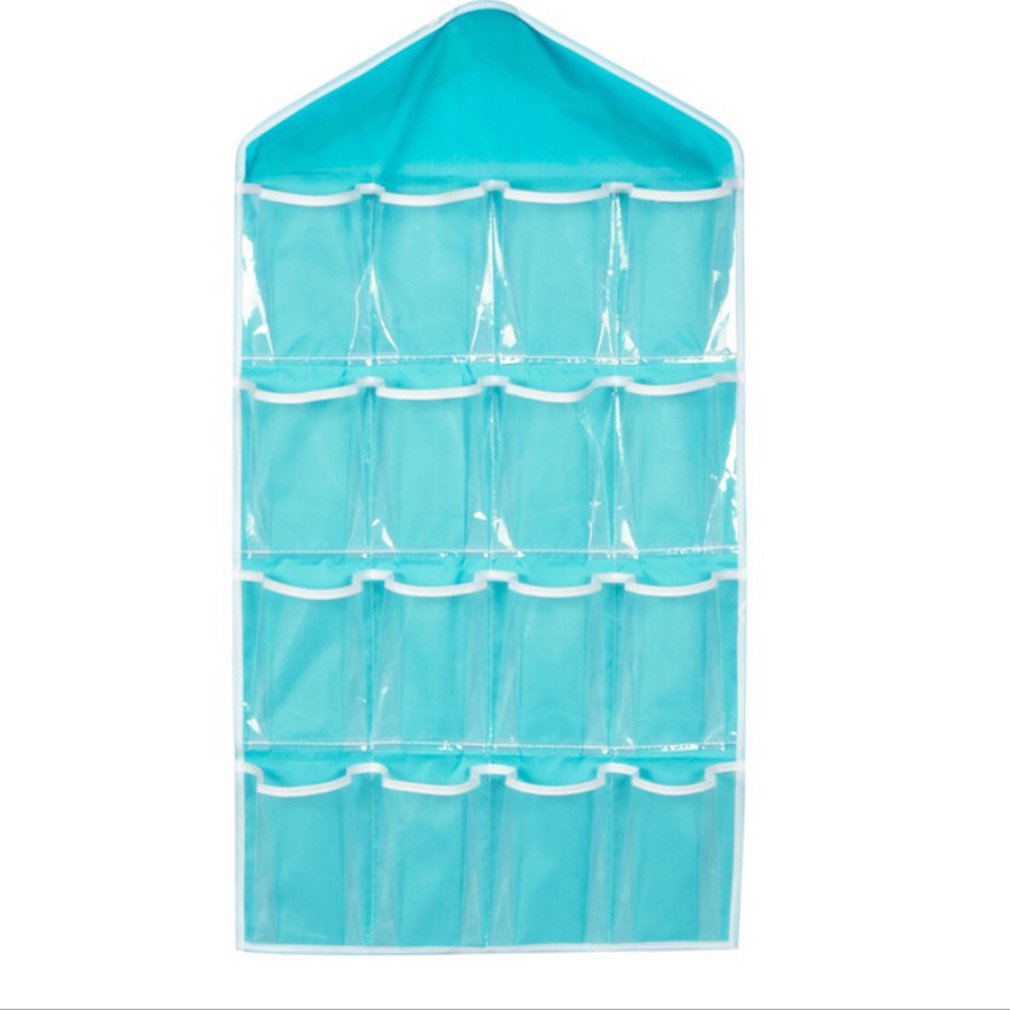 16 Visible Pockets Hanging Organizer For Wardrobe Closet Transparent Storage Bag Door Wall Clear Sundry Bag With Hanger Pouch