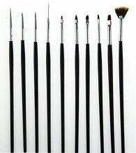 10 шт ногтевая Кисть для геля ручка веерный дизайн кисть рисования