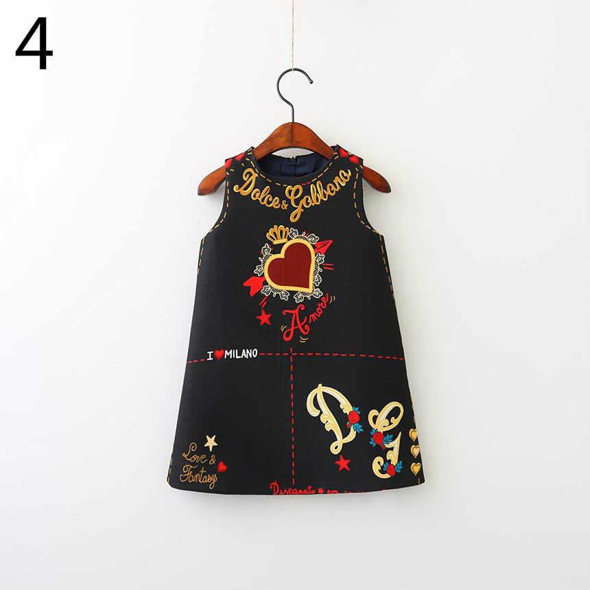 Kız çiçek prenses Sundress aşk kalp nakış moda bahar sonbahar yelek elbise bebek giyim E80703