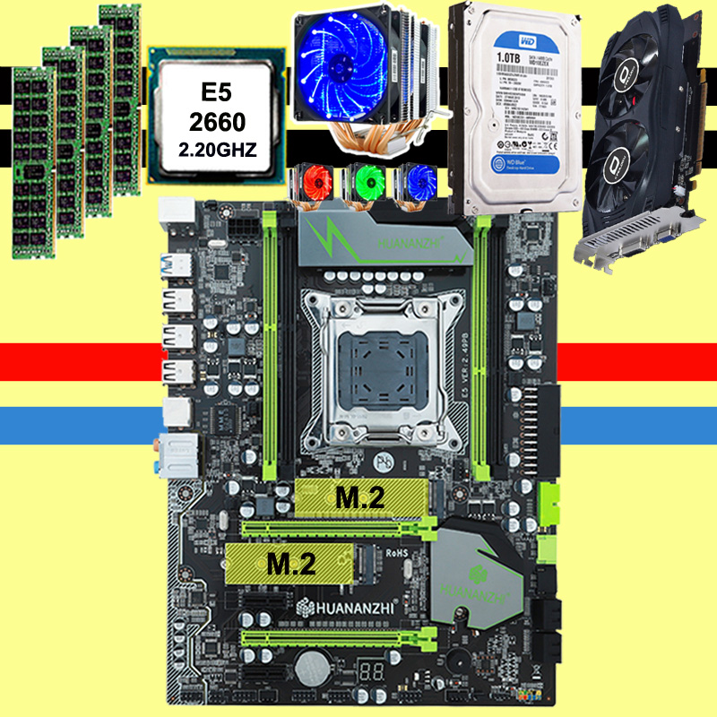 HUANAN X79 motherboard <font><b>GTX750Ti</b></font> 2GD5 video card CPU Xeon E5 2660 SROKK with 6 heatpipes cooler RAM 16G DDR3 RECC 1TB SATA HDD image