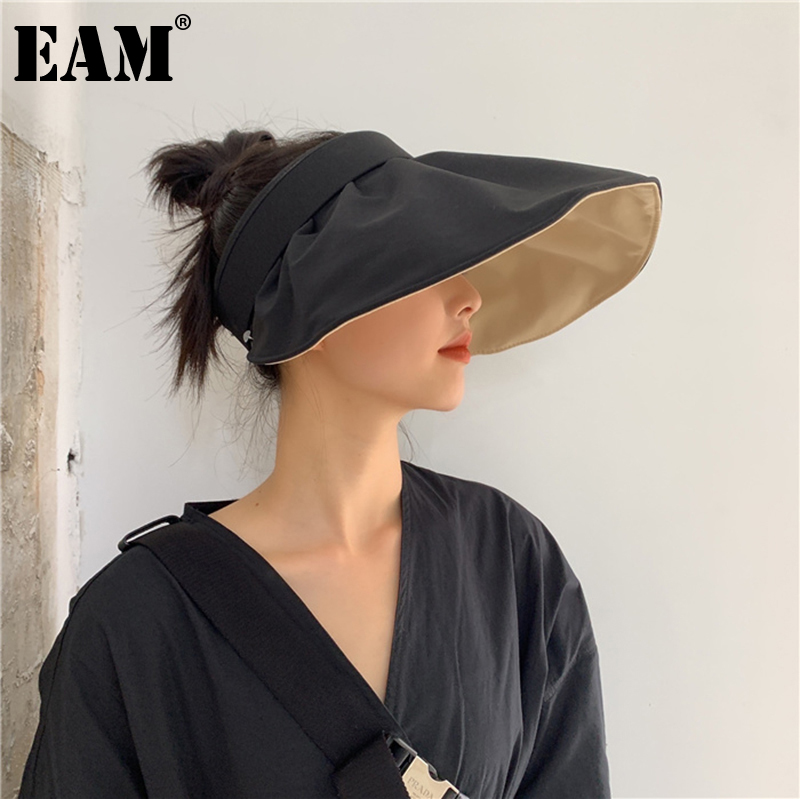 [EAM] Women Black Big Size Ruffles Fishermen Hat New Round Dome Temperament Fashion Tide All-match Spring Autumn 2021 1DE0511
