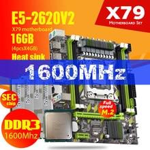 Материнская плата Atermiter X79 X79G LGA2011Combos E5-2620 V2 E5 2620 V2 CPU 4 шт. x 4 ГБ = 16 ГБ DDR3, радиатор ОЗУ 1600 МГц PC3 12800R