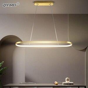 Image 1 - מלבן מודרני Led תליון מנורות לסלון מסעדה דקורטיבי חדר שינה תליון אור Lamparas AC85 260V שלט רחוק