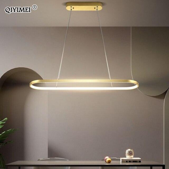 מלבן מודרני Led תליון מנורות לסלון מסעדה דקורטיבי חדר שינה תליון אור Lamparas AC85 260V שלט רחוק