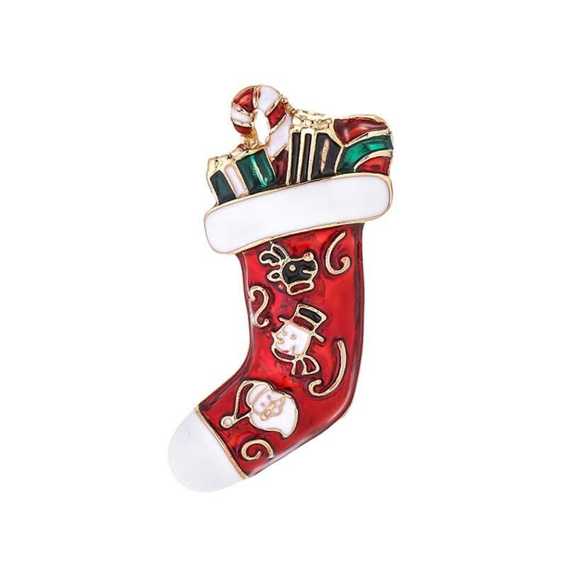Baru Natal Bros Lucu Santa Claus Topi Sarung Tangan Lonceng Kaus Kaki Donat Permen Enamel Pin Bros untuk Wanita Perhiasan hadiah