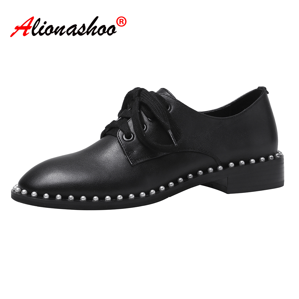 2020 Spring Flats Women Oxford Shoes Lace-up Loafers Genuine Leather Women's Low Heels Footwear Female Round Toe Hoof Heel 34-40