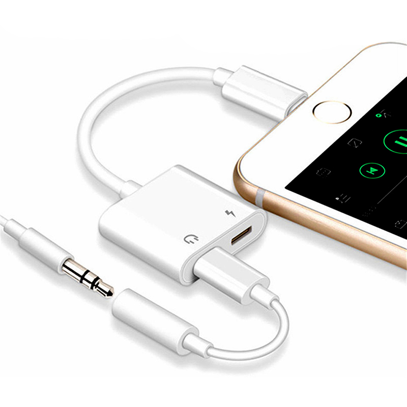 New 2 In 1 For Dual Lightning Audio Converter Plus Splitter Earphone Aux Cable OTG Adapter For IPhone X 7 8 Plus Charging