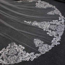 Красивая Длинная 2 Т свадебная вуаль с гребнем 3 метра 2 слоя собора свадебная вуаль цвета слоновой кости вуаль для невесты Свадебные аксессу...